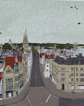 Clare Halifax, View From Carfax Tower, 8 colour silkscreen print, image size 35x35cm, paper size 37x38cm, limited edition of 75, unframed retail price £225
