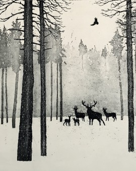 Deer in Winter.Tim Southall. Etching