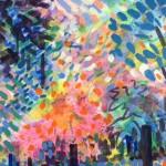 Devon Garden Original Painting by Rosemary Farrer detail 3 07 02 20220