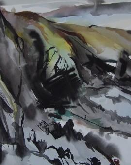 Duncan MacDonald Johnson Setting sun over Mwnt Watercolour  Landscape Art Wychwood Art.jpeg