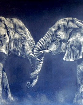 Sophie Harden Duel Original Oil Painting of Elephants 1
