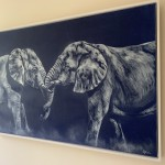 Sophie Harden Duel Original Oil Painting of Elephants 2