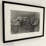 Sophie Harden Duel Sketch, Charcoal on Paper of Elephants 2