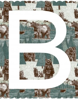B is for Bear, 3 colour screen print, image size 35x35cm, paper size 37x38cm, edition of 100, unframed retail price £70