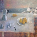 Coffee and Pears mixed media on board 39x49cm Charlie Baird