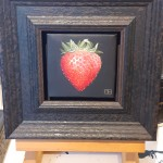 Dani Humberstone, Red Strawberry, on easel, Original oil painting