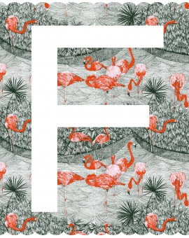 F is for flamingo, 3 colour screen print, image size 35x35cm, paper size 37x38cm, edition of 100, unframed retail price £70