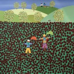 Gordon Barker. Poppy Field Scarecrows, Landscape Art