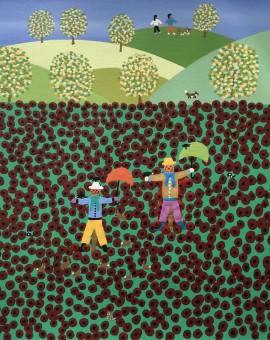 Gordon Barker. Poppy Field Scarecrows, Landscape Art