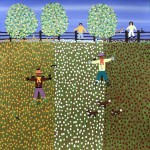 Gordon Barker. Scarecrows In Mixed Flowers, Landscape Art