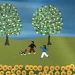 Gordon Barker. Scarecrows In The Sunflowers, Landscape Art 11