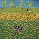 Gordon Barker. Scarecrows In The Sunflowers, Landscape Art