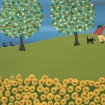 Gordon Barker. Scarecrows In The Sunflowers, Landscape Art 2