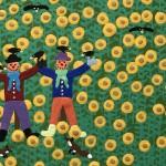 Gordon Barker. Scarecrows In The Sunflowers, Landscape Art 7