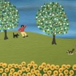 Gordon Barker. Scarecrows In The Sunflowers, Landscape Art 9