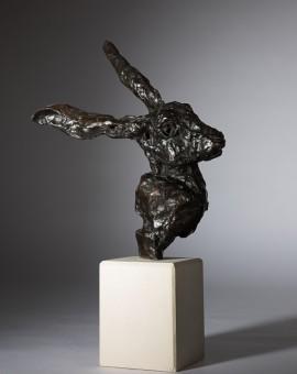 Jane Shaw All Ears Head of a Hare Bronze Animal Sculpture Wychwood Art 1