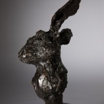 Jane Shaw All Ears Head of a Hare Bronze Animal Sculpture Wychwood Art 4