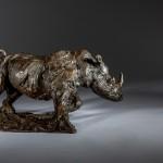 Jane Shaw Freedom Charging White Rhino Bronze Animal Sculpture Whychwood Art 3