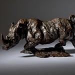 Jane Shaw Freedom Charging White Rhino Bronze Animal Sculpture Wychwood Art 1