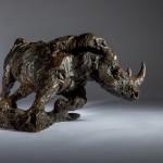 Jane Shaw Freedom Charging White Rhino Bronze Animal Sculpture Wychwood Art 2