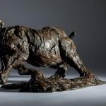 Jane Shaw Freedom Charging White Rhino Bronze Animal Sculpture Wychwood Art 4