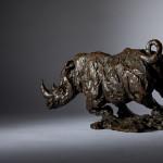 Jane Shaw Freedom Charging White Rhino Bronze Animal Sculpture Wychwood Art 6