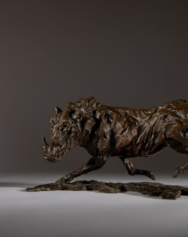 Jane Shaw Running Warty Warthog Bronze Animal Sculpture Wychwood Art 1