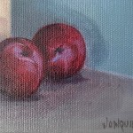 Jonquil Williamson Plums and Bay with Pots close up 1 Wychwood Art
