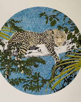 Lounging Leopard, 6 colour screen print, image diameter 30cm, paper size 37x38cm, edition of 50, unframed retail price £150