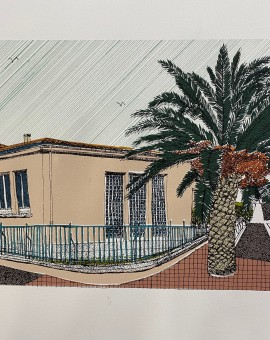 Pink House and Palm, La Palme, 11 colour screen print, image size 21x14cm, paper size 23x17cm, edition of 40, unframed retail price £70