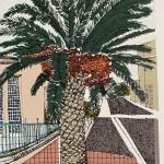 Pink house and Palm, La Palme, clare halifax 1