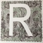R is for Raccoon, 3 colour screen print, image size 35x35cm, paper sixze 37x38cm, eidtion of 100, unframed retail price £70