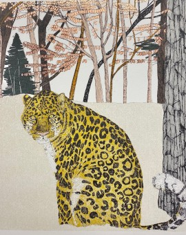 'Rare Beauty-Amur Leopard, 8 colour screen print with hand finished copper gilding, image size 35x35cm, paper size 38x37cm, edition of 50, unframed retail price £250'