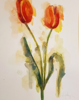 Tulips, Gavin Dobson, watercolour