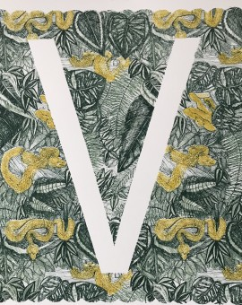 V is for Viper, 3 colour screen print, image size 35x35cm, paper size 37x38cm, edition of 100, unframed retail price £70