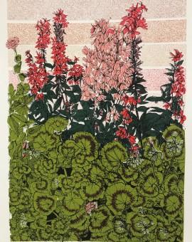 geranium flower bed, Tatton park, 9 colour screen print, image size 15x21cm, paper size 17x24cm, edition of 40, unframed retail price £40