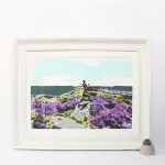 over_owler_tor_framed_trail_running_dog_heather_yorkshire_border_collie_screenprint_katie_edwards_illustration_art
