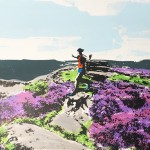 over_owler_tor_trail_running_dog_heather_yorkshire_border_collie_screenprint_katie_edwards_illustration_art
