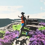 over_owler_tor_trail_running_dog_heather_yorkshire_border_collie_screenprint_katie_edwards_illustration_art copy 2
