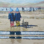 twins walk walter walks the twins. Gordon Hunt. original oil painting.