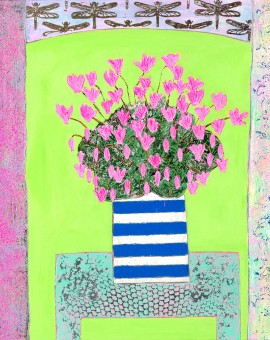 Amy-Christie-Pink-Cyclamens-on-Lime-Green-bright-art-painting