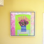 Amy Christie Pink cyclamens on lime green flower painting abstract