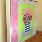 Amy Christie Pink cyclamens on lime green flower painting affordable art