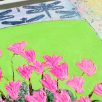 Amy Christie Pink cyclamens on lime green flower painting affordable art shimmer