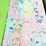 Amy Christie Pink cyclamens on lime green flower painting texture bight art