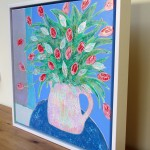 Amy Christie Tulips against Blue flower art painting abstract
