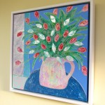 Amy Christie Tulips against Blue flower art painting cornish ware
