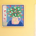 Amy Christie Tulips against Blue flower art painting print cornish ware