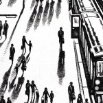 Another Arrival (King's Cross St Pancras Station) Etching 61 x 46 cm (24 x 18 inch) detail 1 Wychwood Art