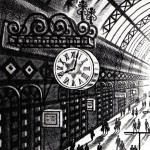 Another Arrival (King's Cross St Pancras Station) Etching 61 x 46 cm (24 x 18 inch) detail 2 Wychwood Art